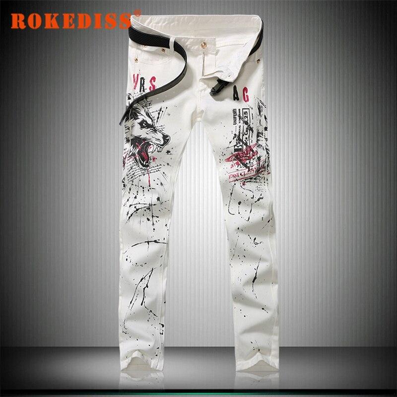 casual skinny Men balmai jeans New Slim Feet fashion High elasticity polyester Water printing hombre fake