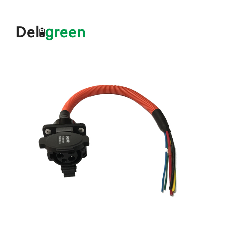 32A SAE J1772 AC inlet with 0 5m single phase CABLE for EV electric car charging