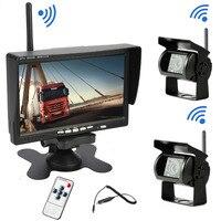 Bnoia Dual Wireless car reverse reversing backup rear view camera for trucks bus Caravan Van Camper RV Trailer with Monitor