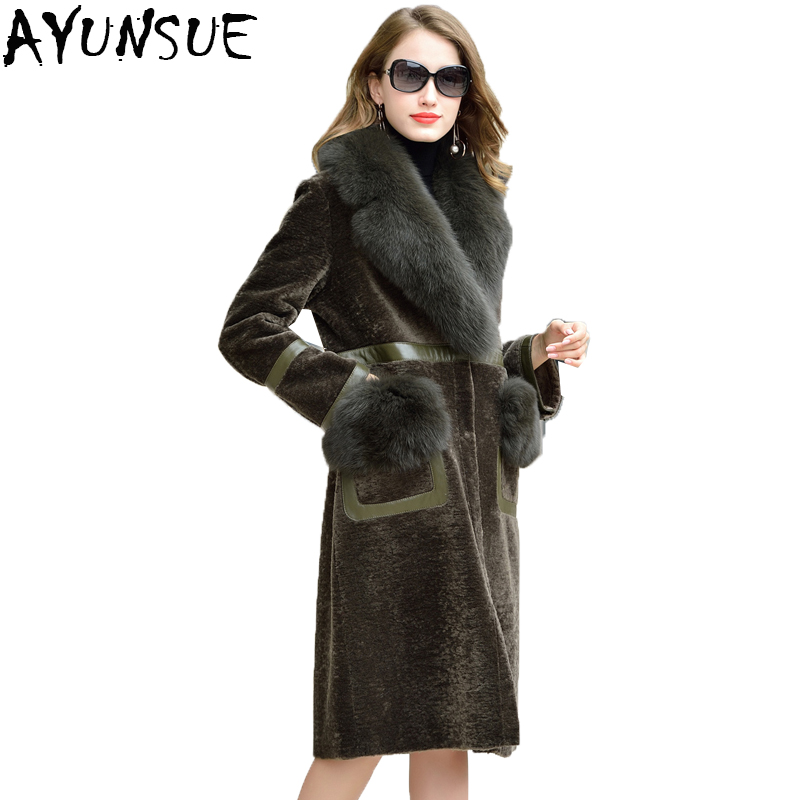 Sheep Shearing Overcoat Women 2019 Real Fur Coat Female Long Winter Warm Parka With Real Fox