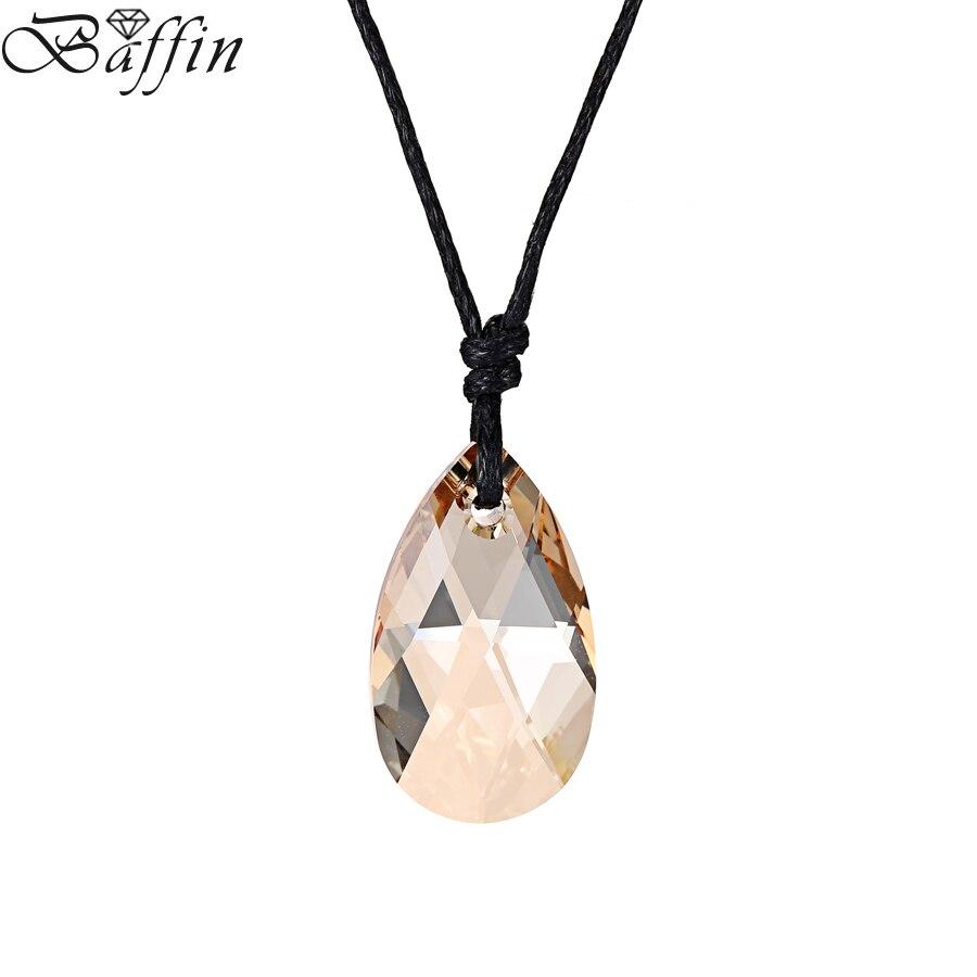 Bafin – Collier en cristal SWAROVSKI, pendentif goutte d'eau avec chaîne en  corde, 22mm, bijoux fait à la main, cadeau