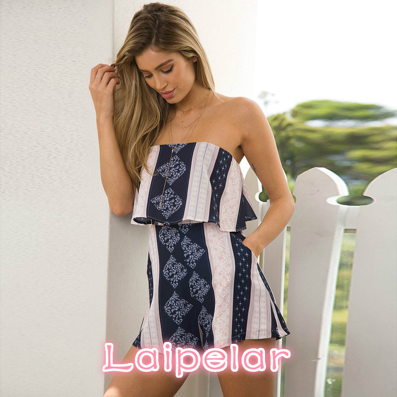 Laipelar New Womens Bohemia Short Jumpsuit 2018 Summer Sexy Off Shoulder Playsuit Girls Elegant Lotus Leaf Edge Romper in Rompers from Women 39 s Clothing