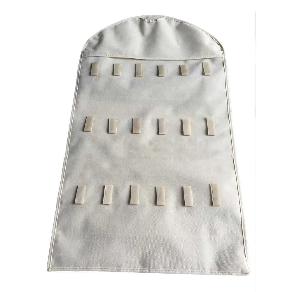 Gran oferta de joyería de moda bolsa colgante collar pulsera bolsos de exhibición de pendientes 32 bolsillos 18 gancho bolsa de joyería organizador de guardarropa