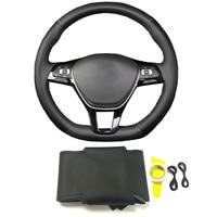 Black genuine leather DIY braide steering wheel cover accessories for Volkswagen for VW Golf 7 MK7 Polo Passat B8 Jetta Tiguan