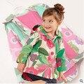 Retail children's clothing winter and autumn 2016 fashion girls kids flower print hooded windbreaker jacket windbreaker jacket