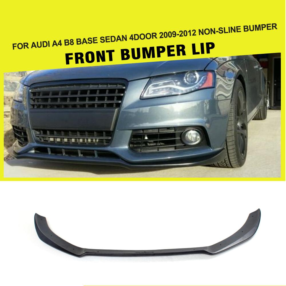 Car-Styling FRP Matt Black Car Racing Front Lip Spoiler Head Bumper Chin For Audi A4 B8 Standard Bumper Only 2009-2012