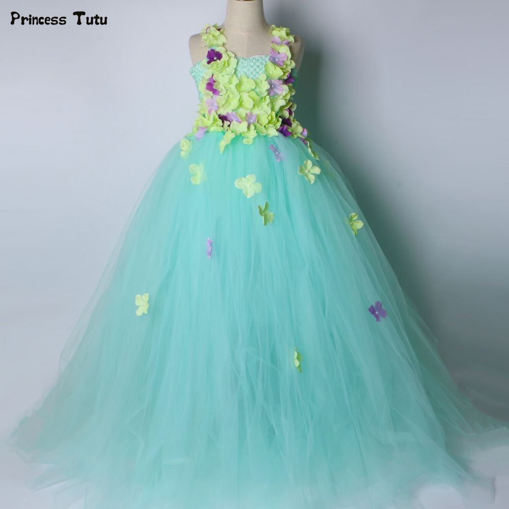 Mint Green Girls Tutu Dress Children Wedding Flower Girl Dress Kids Birthday Party Dress Girls Ball Gown Princess Fairy Costume party girl dress 2017 new kids girls trailing dress with bow knot child birthday surprises girls wedding princess costume 2 12t