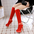 2017 New Women Stretch Faux Suede Slim Thigh High Boots Sexy Fashion Over the Knee Boots High Heels Woman Shoes OD896