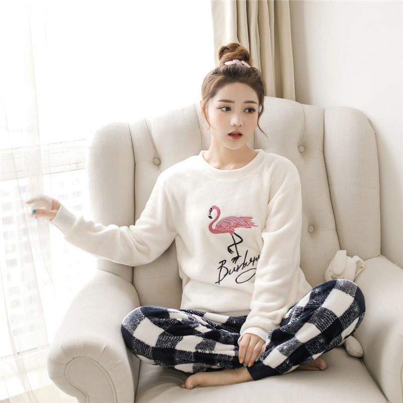 Women pajamas set Women Pyjamas Thick Flannel Cute Sheep Female Warm Winter Pajama Set Long Sleeve Full Trousers Two Piece 2019 59