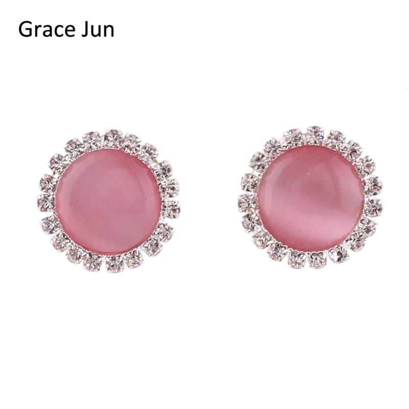 Grace Jun Top Quality Opal Rhinestone Round Clip on Earrings Without Piercing for Women Party Wedding Elegant Earrings Xmas Gift