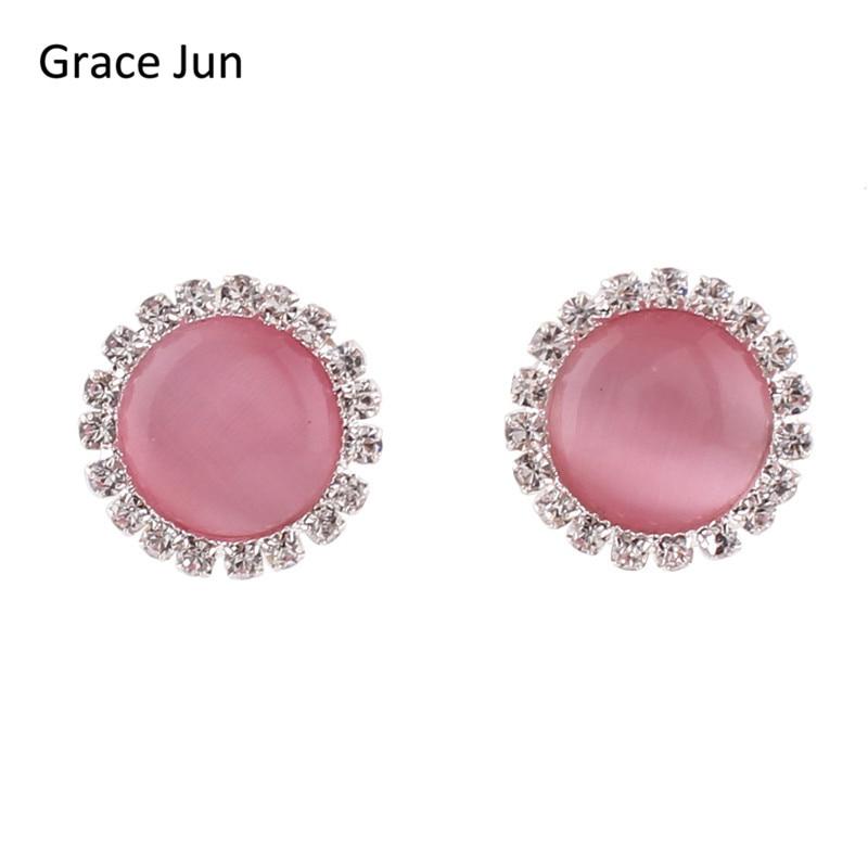 Grace Ιούνιο Κορυφαία ποιότητας Opal Rhinestone Στρογγυλό Clip για Σκουλαρίκια Χωρίς Piercing για Γυναίκες Party Γάμος Κομψό Σκουλαρίκια Χριστουγεννιάτικο δώρο