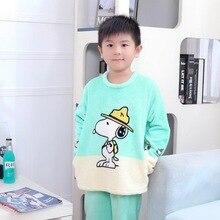 Çocuklar Pijama Erkek Kız Kış Pazen Pijama çocuk pijamaları Setleri Kızlar Için Yumuşak Erkek Pijama Çocuk Kıyafeti Gecelik SW2