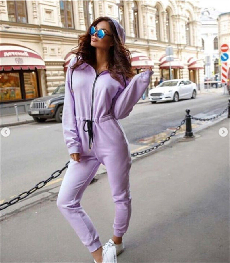 Ladies Women Jumpsuit Zipper Hooded Clubwear Party Bodycon Long Pants Casual Romper Solid Warm Cotton Skinny Soft Clothing