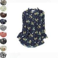 Women Autumn 100% Natural Silk Blouse Real Silk Long Sleeve Basic Shirt OL Floral Print Top Shirts Silk Blouses for Women