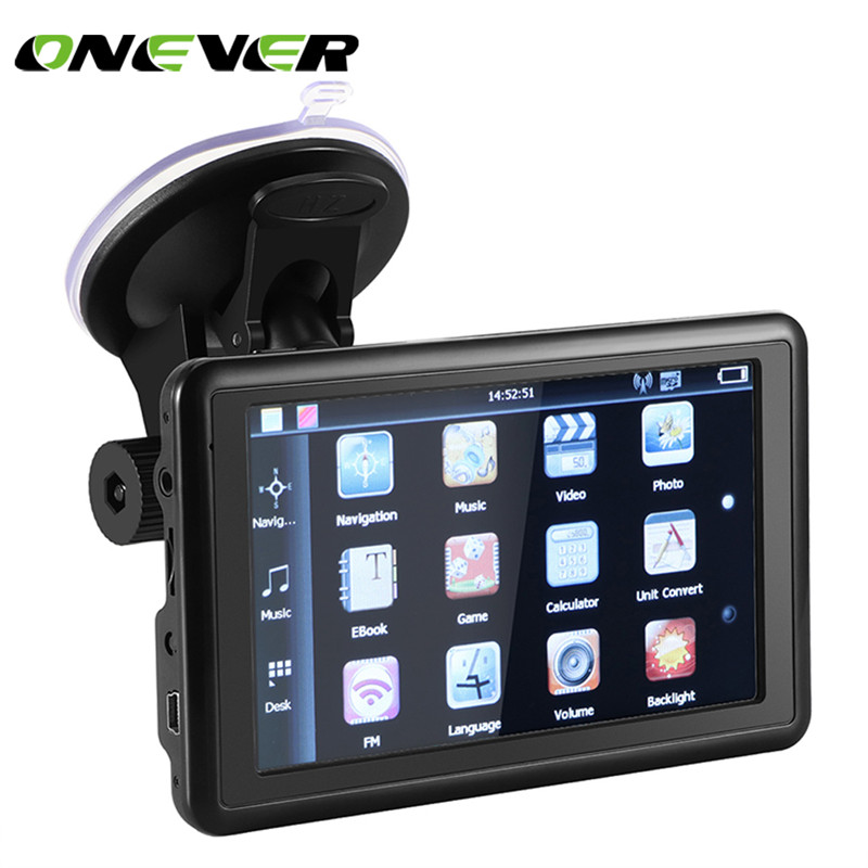 Onever 5″ Touch Screen Car SAT GPS Navigation NAV 8GB US EU Russia Canada Map FM Transmit/TF Card/Video MP3 Play with Charger