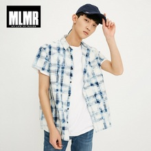 MLMR Men's Cotton Loose Fit Plaid Short-sleeved Pointed Collar Shirt M|218204501 недорого