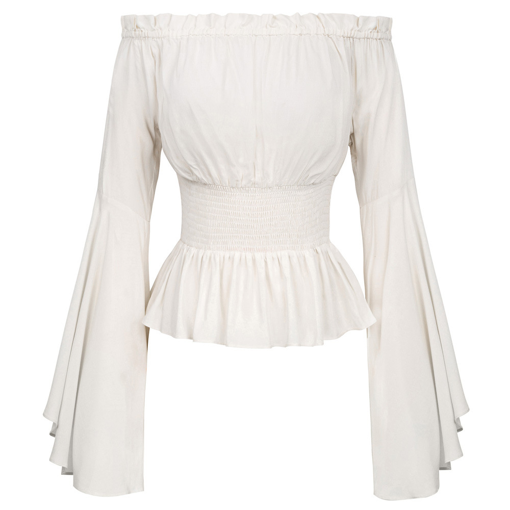 Women Girls Gothic Renaissance Victorian Chemise Shirt Medieval Retro Peasant Wench Off Shoulder Blouse Resist Top Costume