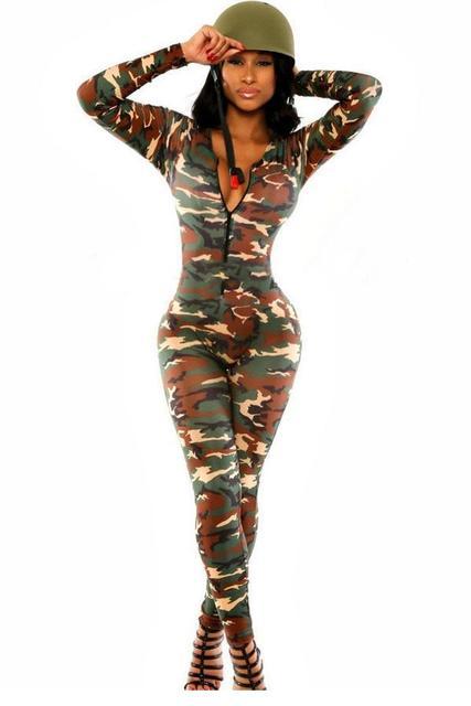 Las Mujeres atractivas Del Mono Del Ejército Soldado Catsuit LC6918 macacão feminino e macaquinhos Overol para Mujeres Trajes para Mujeres