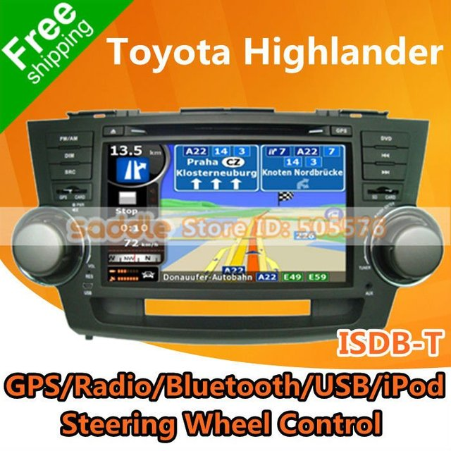 "Toyota Highlander DVD Carro , 8"" Specail Car Stereo for Toyota Highlander 2008-2012 with GPS ISDB-T Radio Bluetooth USB SD iPod!"