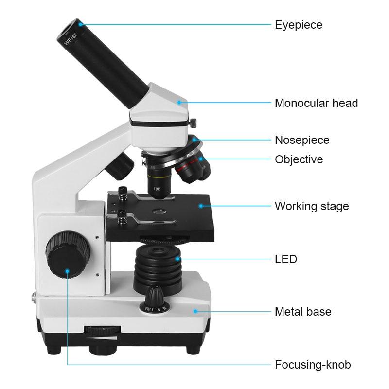 Image 3 - AOMEKIE, профессиональный Биологический микроскоп 64X 640X, вверх/снизу, светодиодный, студенческий, научный, образовательный, лабораторный, домашний монокулярный микроскоп, подарок-in Микроскопы from Инструменты