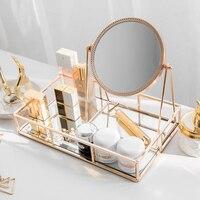 스토리지 트레이 유럽 거울 허영 미러 라이트 럭셔리 골드 레트로 데스크탑 메이크업 미러 프놈펜 미러 쥬얼리