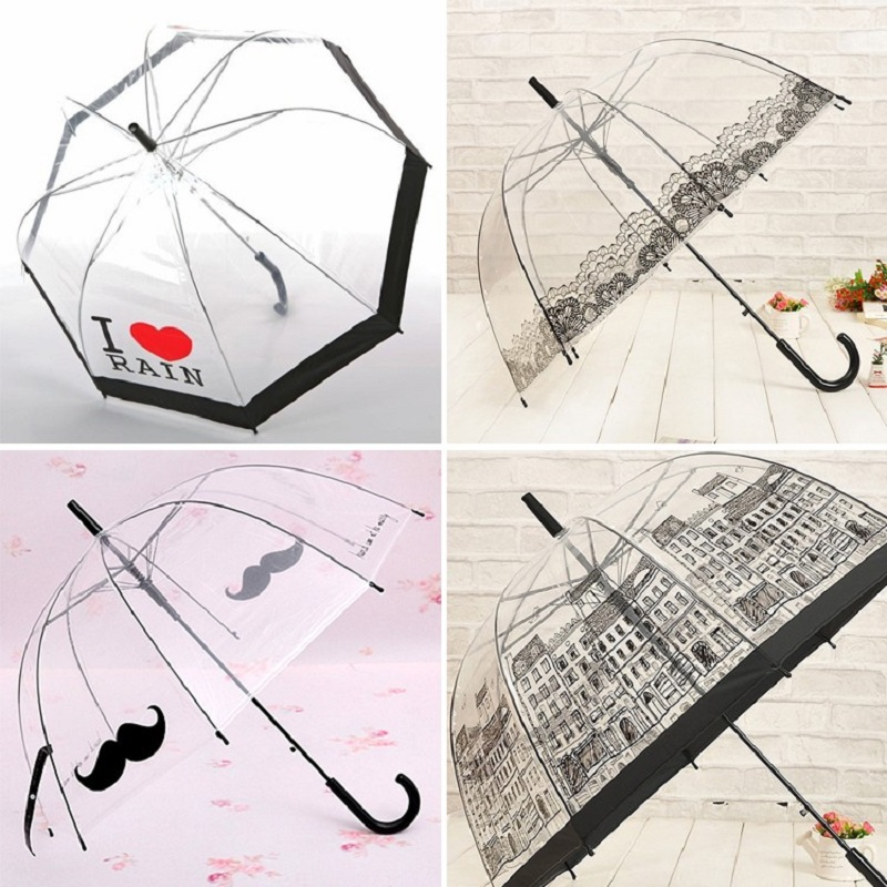 Hot Sale Long Handle Transparent Umbrella Creative Semi-automatic Sunny and Rainy Umbrella Women Girls Outside Tools