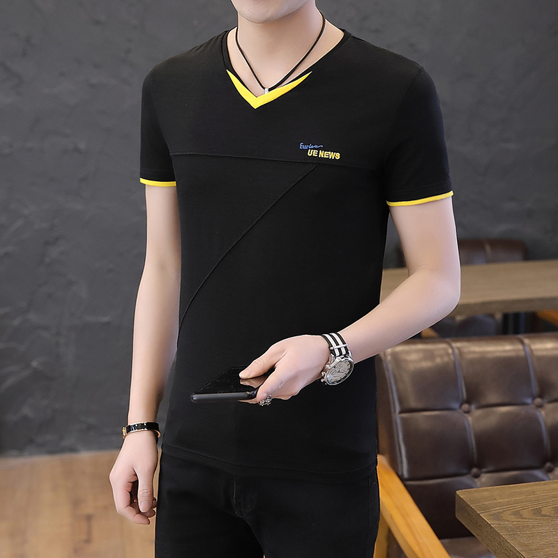 2019 summer new solid color v-neck youth male Korean version of the trend of men's short-sleeved cotton t-shirts 1