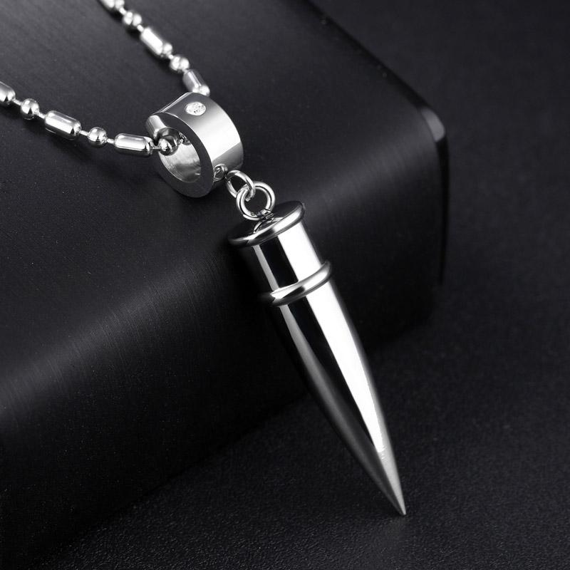 Army Bullet Pendant Necklaces Stainless Steel Necklace Men Jewelry Collares Collier Mens Jewellery 55cm Chain Black Rose Gold