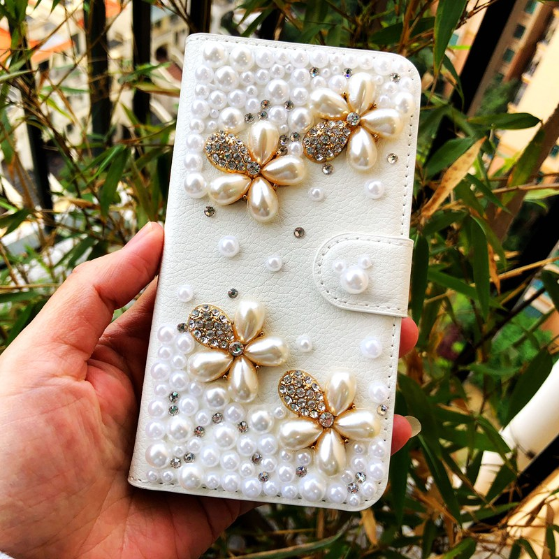 Vintage Wallet Flip Leather Case For Samsung Galaxy A7 A5 A3 2017 2016 A720 A710 A520 Pearl Flower Diamond Rhinestone Case Bag