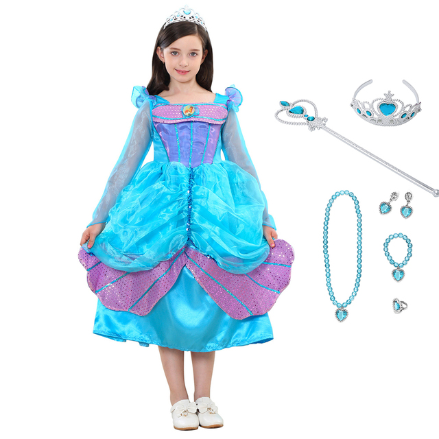 Girls Mermaid Dresses Tiered Ball Gown Children Halloween Little ...