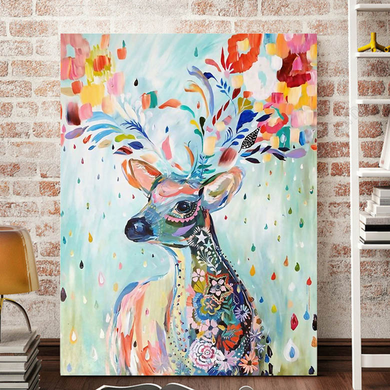 Unframed Colorful Deer Abstract Caroon Wall Painting Art Print Poster Home Decor Giclee