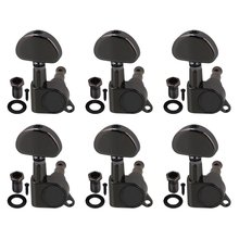 6R Full Locking Electric Guitar Tuning Pegs with Heart Shape Button Silver Grey Nickel Plated Set of 6