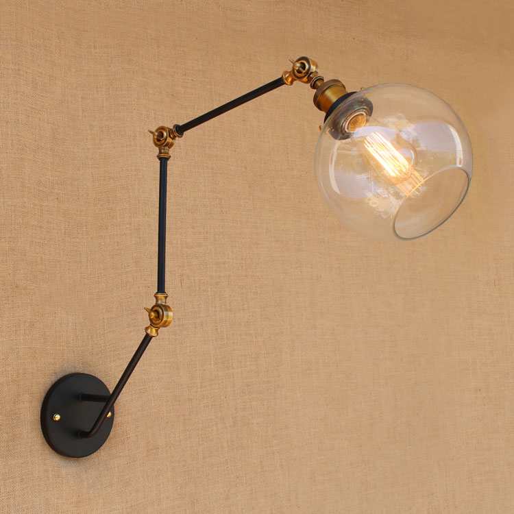 American Industrial Loft Style Wall Lamp Glass Lampshade Wall Sconces Bedside Light Fixtures For Home Lighting Indoor Bar Cafe 12w fashion arts painting pvc led wall lamp modern bedside light wall sconces fixtures for stairs bar cafe indoor home lighting