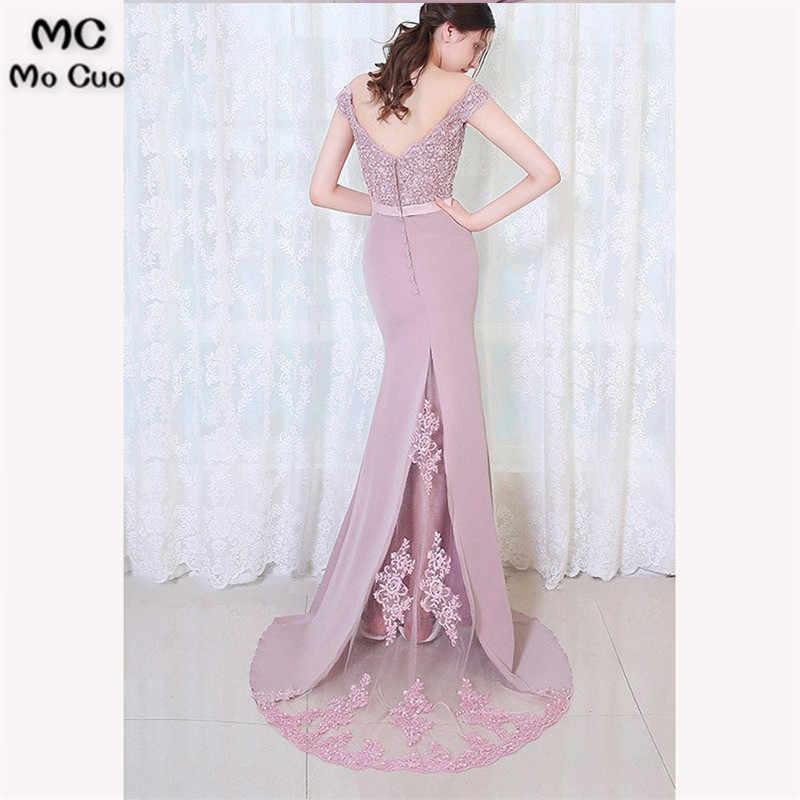 ... 2018 Dark Blue Mermaid Off Shoulder Bridesmaid Dresses Long Wedding  Party Dress Short Sleeve Sweep Train ... cb7743b74c0e