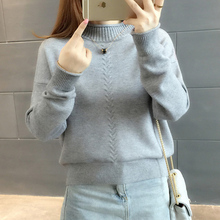 Knitted And Pullovers women sweater 2017 Autumn Winter Casual Turtleneck long sleeve Criss-Cross Striped Loose female sweater