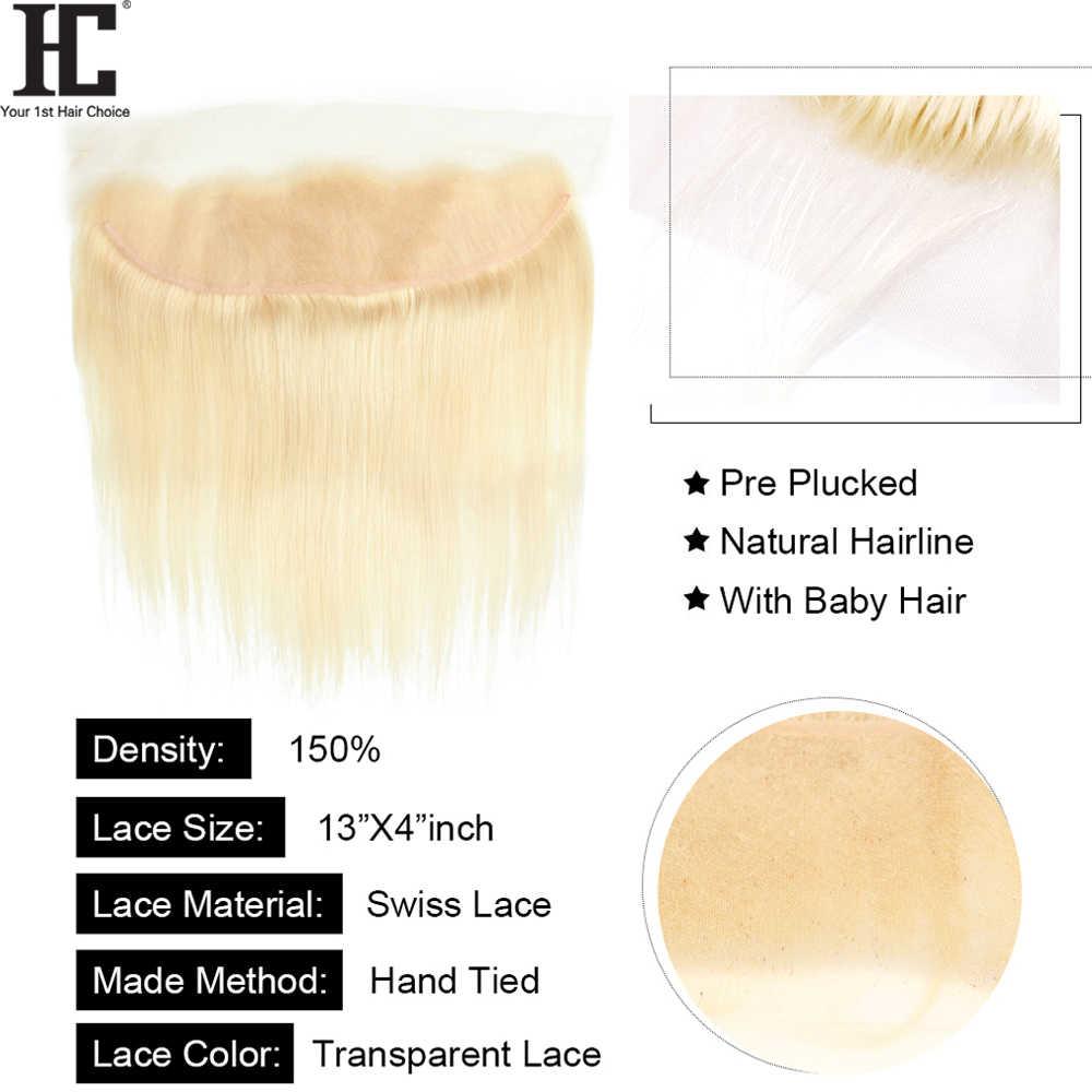 HC 613 Bundle Con Frontale Bionda 3 Bundle Con 13X4 Chiusura Remy Brasiliano di 613 Lisci Capelli Umani Del Tessuto Bundle Con frontale