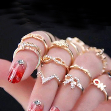 FAMSHIN 2016 New 1 Set 7 pcs Women's Rhinestone Bowknot Knuckle Midi Mid Finger Tip Stacking Rings