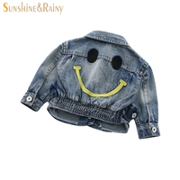 Baby Girls Denim Jackets Coats For Boys Jean Coat Fashion Children Outwear Smile Embroidery Girls Cardigan