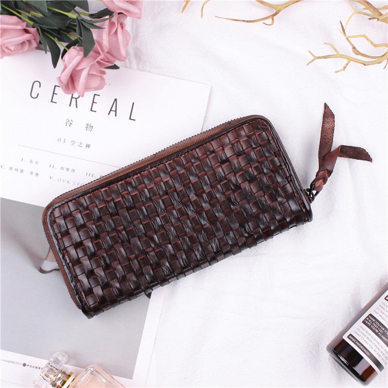 PNDME luxury handmade weaving retro soft genuine leather cowhide ladies men 39 s long zipper wallet clutch credit cards purse in Wallets from Luggage amp Bags