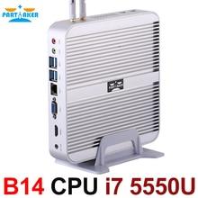 Безвентиляторный мини-компьютер Мини-ПК I7 5550U с Intel Core I7 5550U Окна 10 HDMI VGA SD Бесплатный Wi-Fi