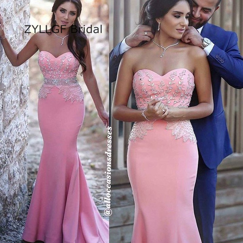 zyllgf bridal sexy long robe bal de promo mermaid sweetheart beaded diamond prom dress custom
