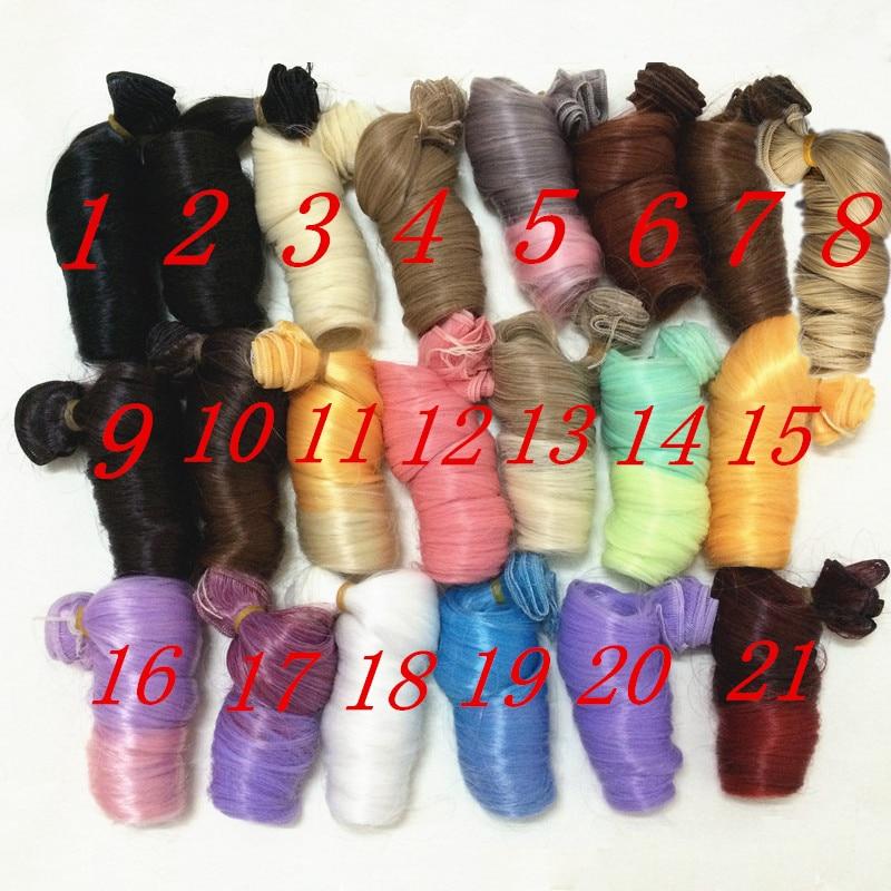 AILAIKI 15 * 100cm 5st / lot Toy 1/3 1/4 1/6 BJD Dolls DIY Curly Wig - Dockor och tillbehör - Foto 3