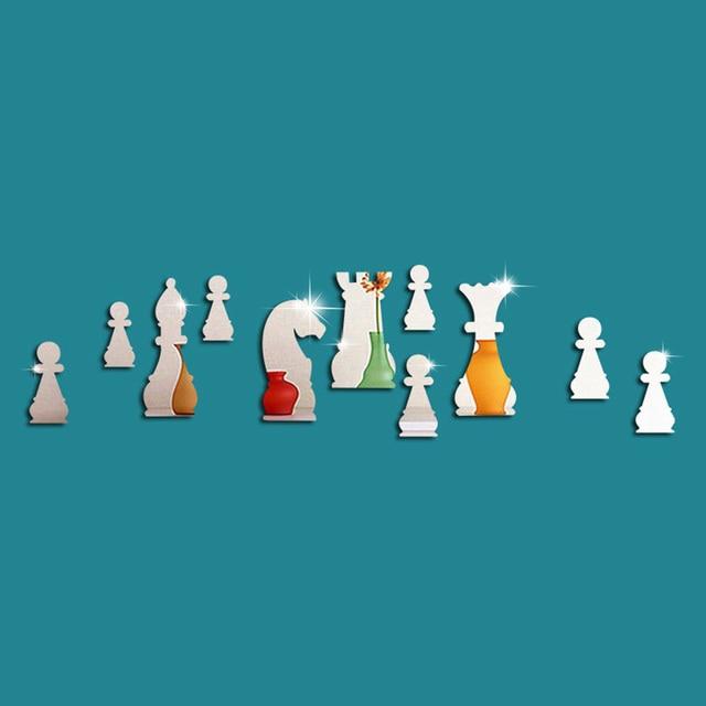 11 шт. Мультяшные международные Шахматные настенные наклейки 3D зеркальные настенные домашняя Декорация-Наклейка Серебро