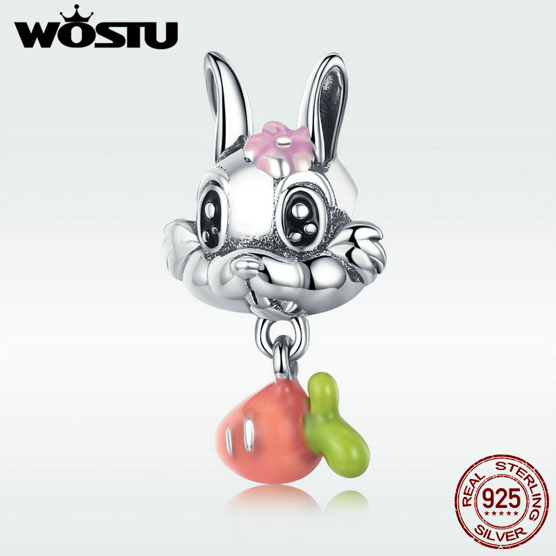 WOSTU Authentic 925 Sterling Silver Cute Carrot & Rabbit Dangle Charm fit Girls Charm Bracelet DIY Jewelry Girls Gift DXC324