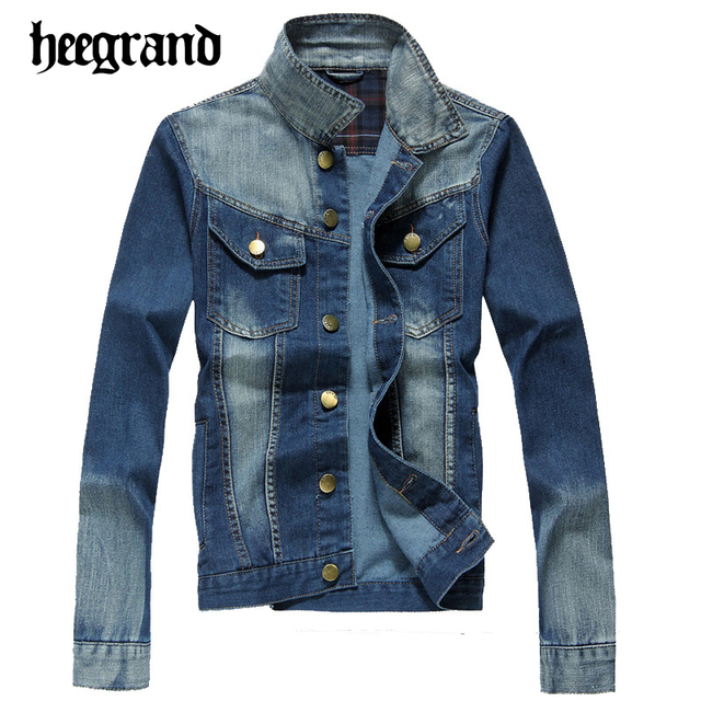 HEE GRAND 2017 New Spring Men's Denim Jacket High Quality Fashion Jeans Jackets Slim Fit Casual Jean Clothing MWJ2329