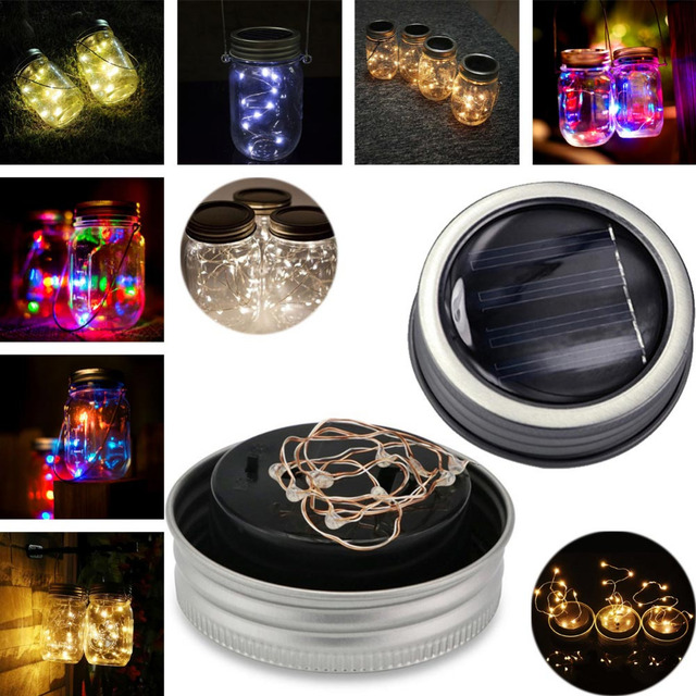 Waterproof 3 PCS Solar LED DIY Light String Solar Battery Jar Can Cap Fairy  Strip Wire