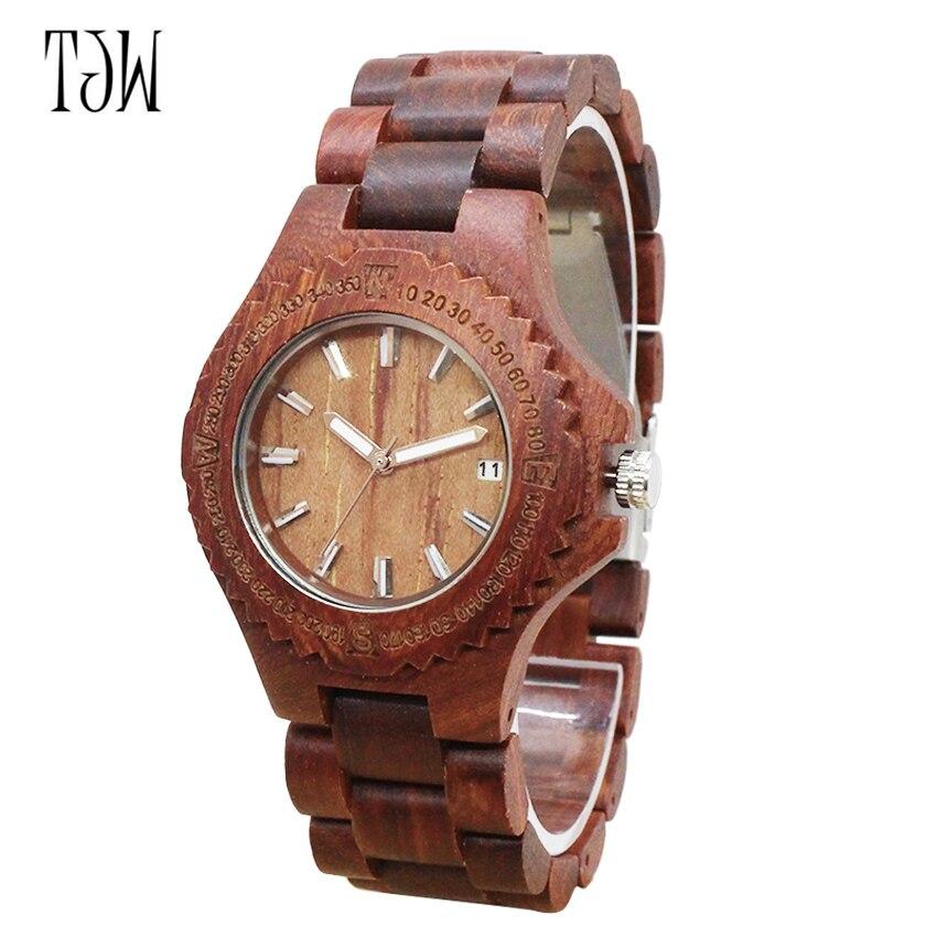 Montre en bois 2018 TJW montre pour hommes tout bois zèbre bois érable rouge santal montre en bois faite à la main