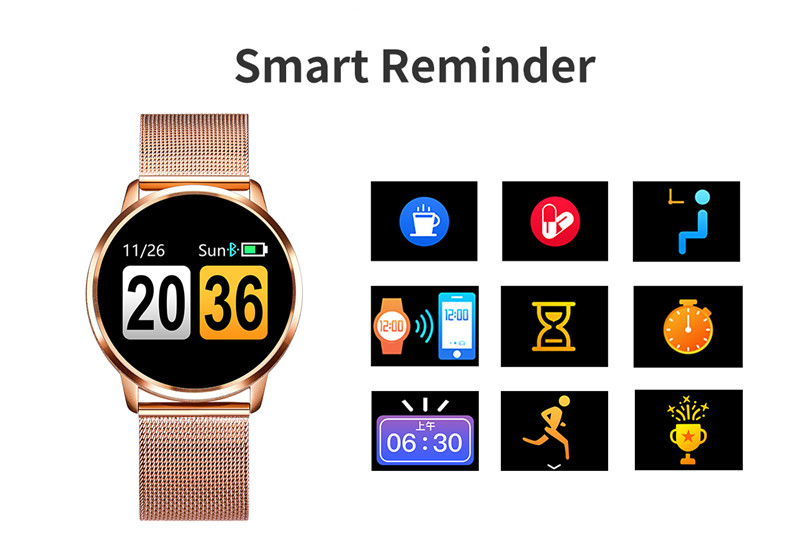 MAFAM Q8 Smart Watch OLED Color Screen Smartwatch Men Women Fashion Fitness Tracker Heart Rate Monitor For IOS Android Watch (20)