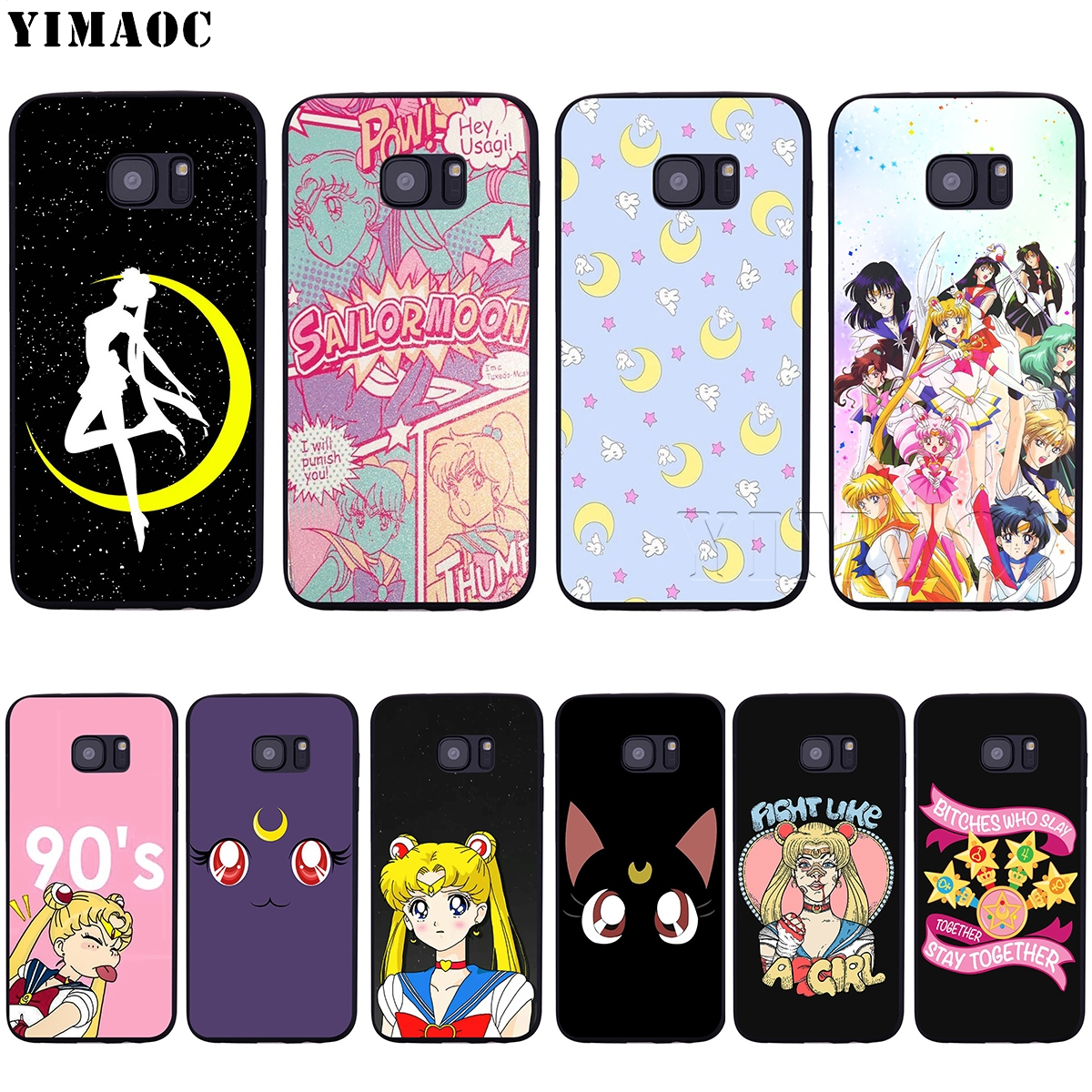 huge discount 4ebaa 97816 YIMAOC Sailor Moon Soft Silicone Case for Samsung Galaxy S6 S7 S10e Edge S8  S9 Plus A3 A5 A6 A7 A8 A9 J6 Note 8 9 2018
