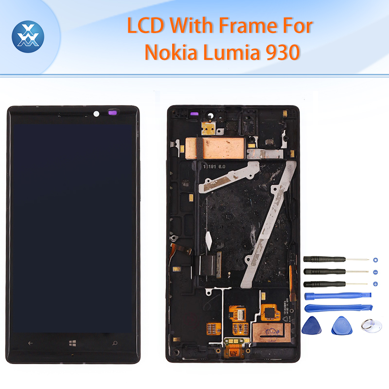 ФОТО Original LCD for Microsoft Nokia Lumia 930 LCD display touch screen digitizer+frame assembly black 5.5 inch pantalla+tools